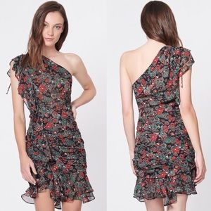 Veronica Beard Ballard One Shoulder Silk Dress 0